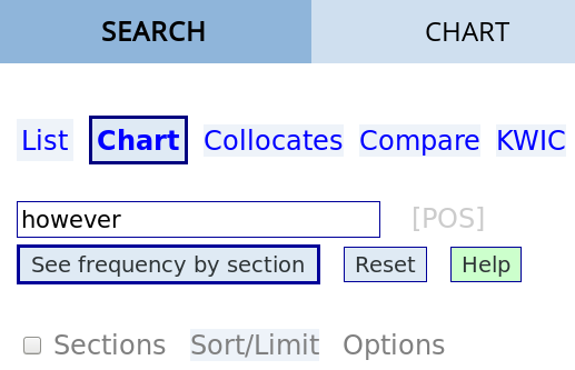 the search box for comparing different sections of the corpus